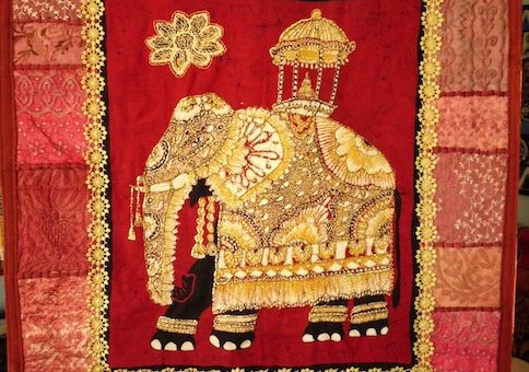 Golden Elephant Art Quilt